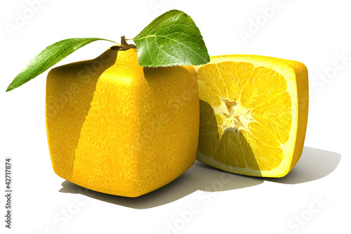 Cubic lemon close up