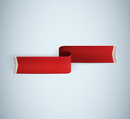 red textured ribbon. Vector illustration
