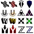 Superhero or athletics symbols s-z