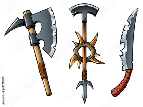 Ancient fantasy weapon of barbarians, vector