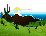 Cactus saguaro, mountains and river. Vector background