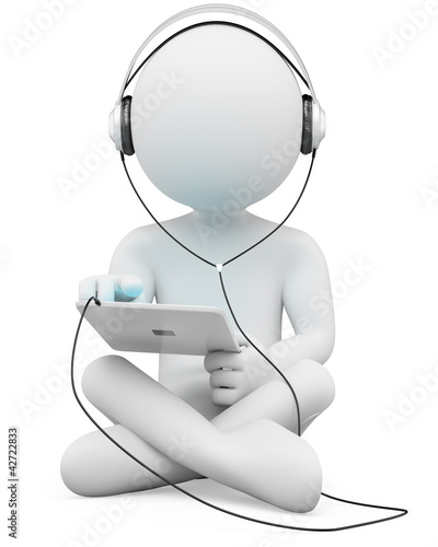 3D white people. Tablet and headphones
