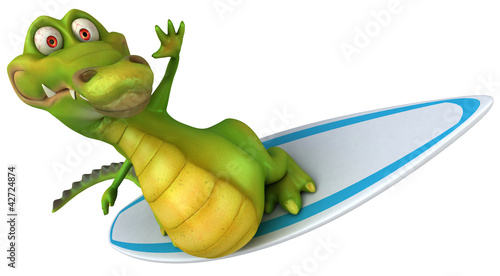 Crocodile et surf