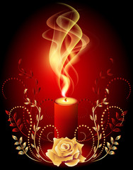 Burning candle with smoke