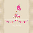 Flying Pink Bird 10 Cupcakes 2 Buntings Beige Dots