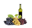 Fresh grapes with bottle of  wine isolated on white