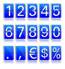 Fallblattanzeige Ziffern blau