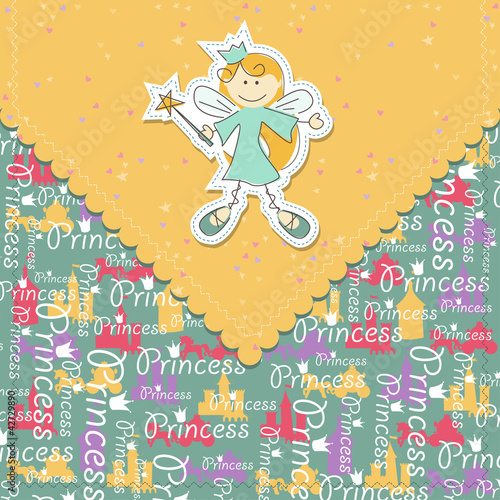 Girl greeting card with fairy