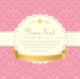 invitation vintage label vector frame pink