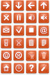 Set of icons. Square pictograms of orange color.
