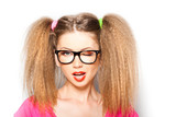 curly girl with hipster glasses and two tails isolated on white poster