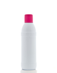 white plastic bottle on white background
