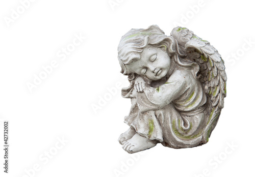 Sculpture of mourning angel isolated on white