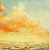 sea landscape with a cloud,  illustration, painting by oil on a