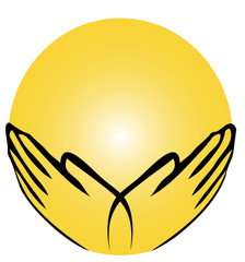 Hände mit Energieball