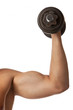 Cropped view of a muscular man lifting a dumbbell