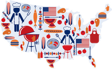 4th of July celebration; american flag with barbecue party icons