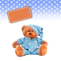 hintergrund teddybär - mit blauem pyjama