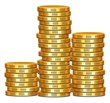 Stack of Gold Coins - Three Stacks