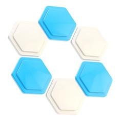 Abstract figure of six hexagon plates