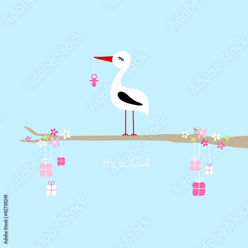 "Tall Stork Pink Pacifier On Tree Gifts ""It´s a Girl"" Blue"