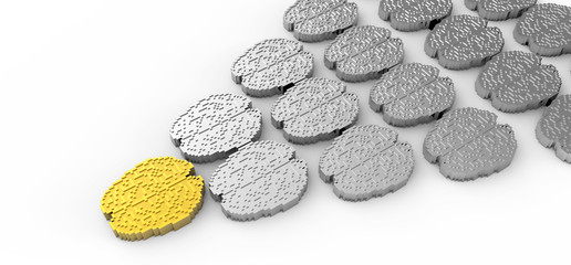 Leadership concept with 3d gold and silver brain icon