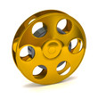 3d illustration of golden film reel