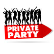 sign for private party with girl silhouette