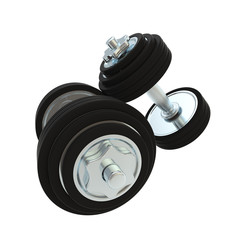 Pair of two metal dumbbells heavy and black