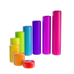 Colorful, rainbow glossy bar graph