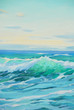 morning on mediterranean sea, wave, illustration, painting by oi