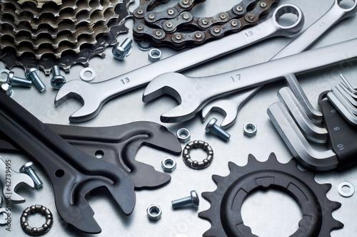 Leinwandbild Motiv Bike repairing