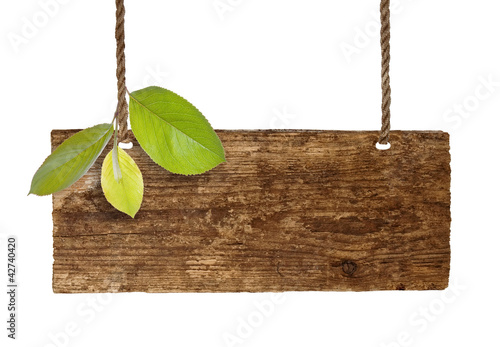 Sign board with leaves