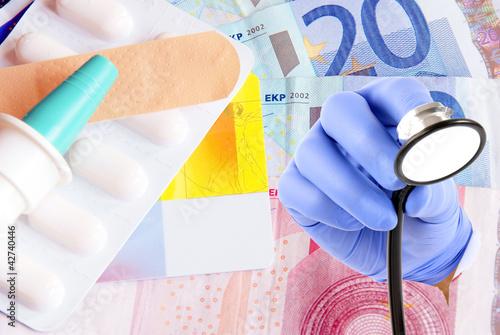 Arznei und Stethoskop