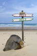 Double directional signs on a beach 2012 to 2013
