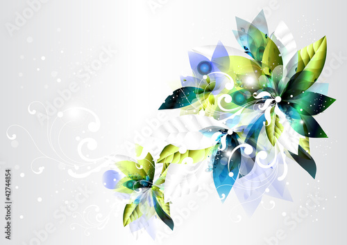 Abstract background with green and blue