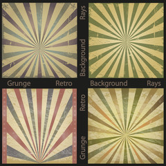Vector grunge retro rays background set