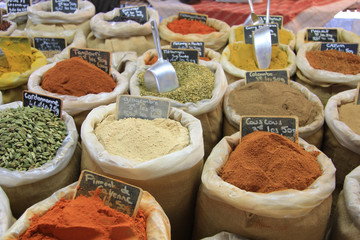 Herbs and spices on a french market