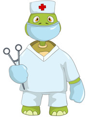 Funny Turtle. Doctor.