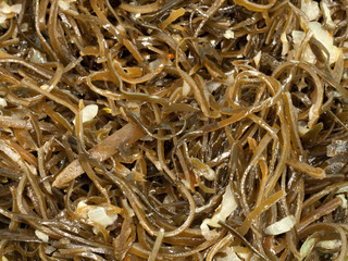 Heap of healthy laminaria close-up.