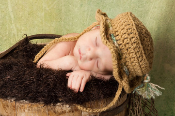 Newborn Baby Boy Wearing a Fishing Hat