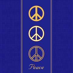 International Peace Symbols, 3 gold styles, blue background