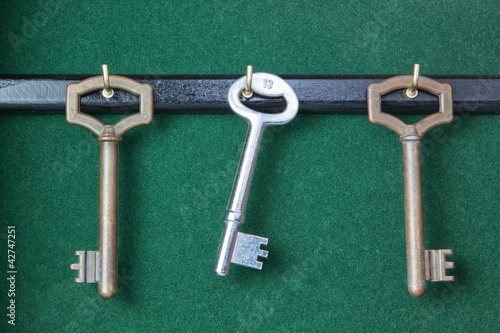 A set of keys hanging in the housekeeper.