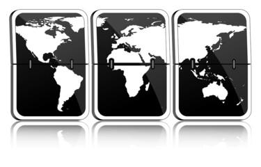 Fallblattanzeige Weltkarte schwarz