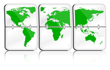 Gläserne Fallblattanzeige Weltkarte grün