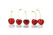 Five red cherries