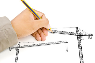 Hand drawing Crain line for Construction concept.