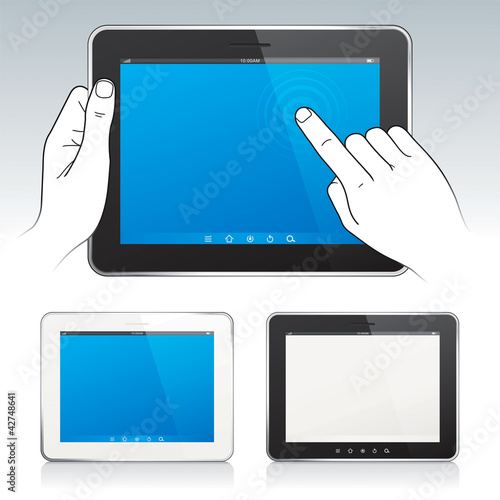 Digital tablet pc with hands, white/black color.