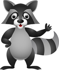 Raccoon cartoon hand waving