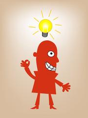 businessman standing with lighting idea bulb